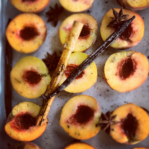 peaches with amaretti and sage syrup
