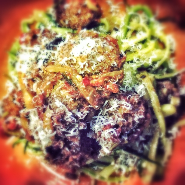 meatballs and courgette