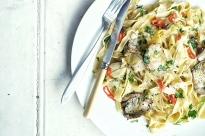 spelt tagliatellle with artichokes, garlic, lemon and chilli.